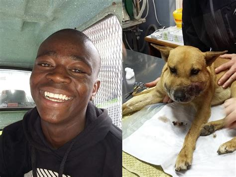 A quick thinking young man saved his faithful dog from a