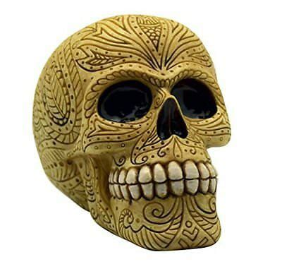 Bone Colored Day of the Dead Sugar Skull Coin Bank Mexican