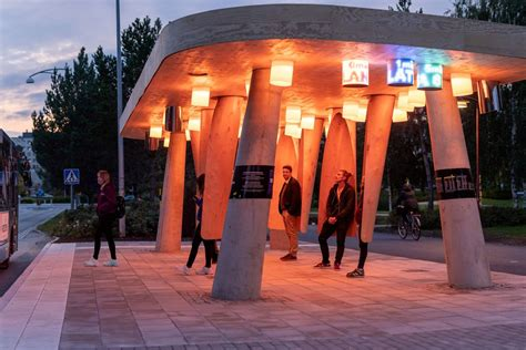 Bus stop in Sweden has rotating pods to shield passengers