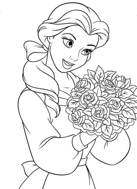 Princess Belle With Roses Coloring Pages   Antons