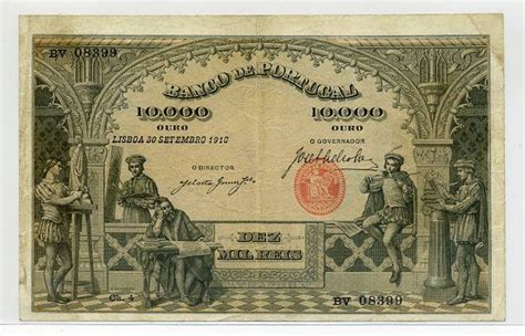 Portuguese paper money 10000 Reis banknote of 1910 Bank of