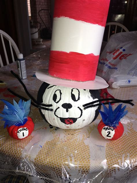Cute cat in the hat and thing 1&2 pumpkins ! Great idea