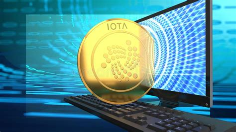Iota Money On A Laptop, Blue Charts In The Background