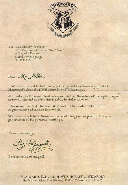 Hogwarts Acceptance letter from Harry Potter   We Heart It