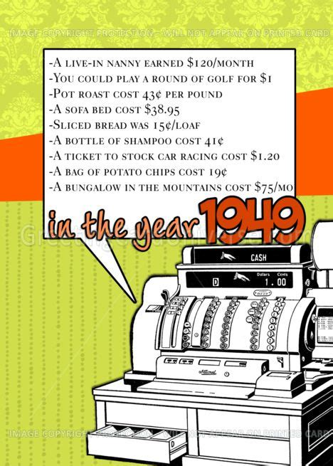 1949 - Fun facts birthday - cost of living card #Ad , #Ad